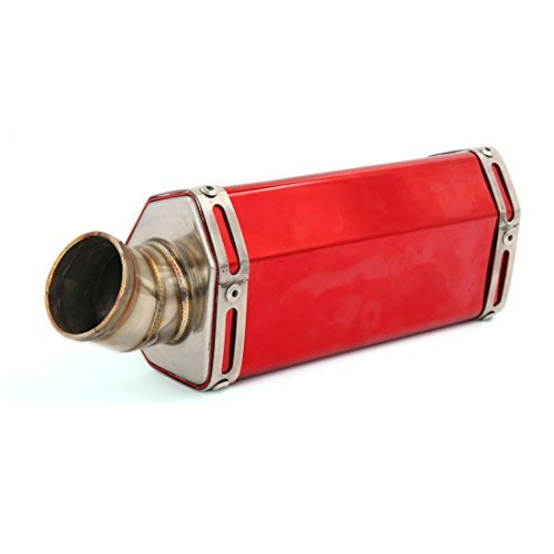 DealMux 51mm Inlet Dia Red Aluminum Alloy Hexagon Shape Motorcycle Exhaust Muffler Tip