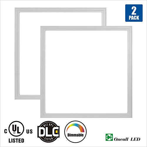 Oncall LED 2 x 2ft 36w LED Troffer Flat Panel Light Ultra Thin Commercial Drop Ceiling Edge-Lit Dimmable Lamp Fixture 4600lm DLC Premium 4.2 Qualified-Pack of 2 5000K