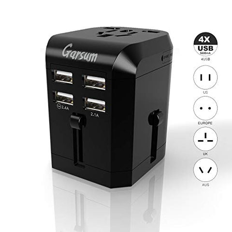 Universal Travel Power Adapter -Garsum All in One Worldwide International Wall Charger AC Plug Adaptor with 3.5A Smart Power 4X USB For USA EU UK AUS Cell Phone Tablet Laptop