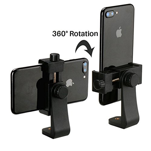 iPhone Tripod Mount Cell Phone Adapter, with Bluetooth Remote Shutter  Smartphone Holder Clip for iPhone X 8 7 6 6s plus Samsung Nexus Selfie  Stick