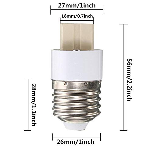 YouOKLight 6-Pack E26 to G9 Adapter - Converts Chandelier Socket adapter (E26/E27) to Medium Socket