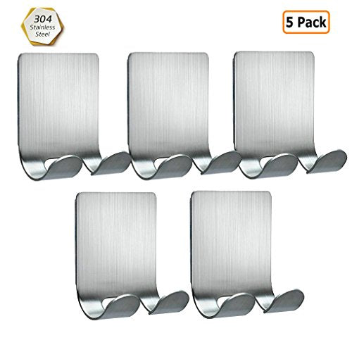 GuDoQi 5 Pack 3M Self Adhesive Razor Holder Plug Holder 304 Stainless Steel Hook Wall Hook for Shaving Razor, Plug, Keys, Kitchen Utensils and More No Drill Glue Needed