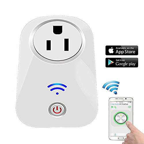 WOSUK Wifi Smart US Plug Power Switch Socket Outlet Wireless Remote Control Timer Turn On/Off Electrics for Household Appliances by Cellphone iPhone IOS/Android App Anywhere Anytime (Wireless Socket)