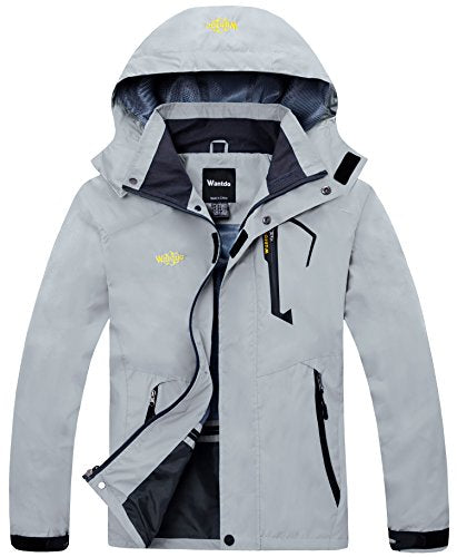 Wantdo Men's Hooded Breathable Outdoor Hiking Windbreaker Waterproof Rain Jacket Grey M