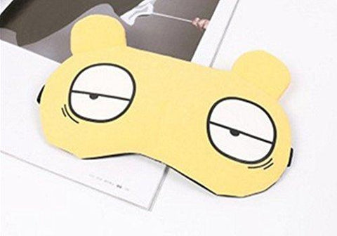 Novelty Unisex Cartoon Eye Sleep Mask Travel Sleepwear Blindfold Funny Gift Party Sleep Patch Blinder with Ice Bag (Yellow)
