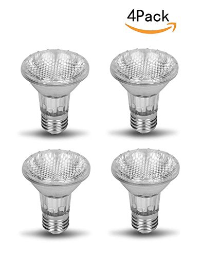 CTKcom PAR20 Halogen Flood Light 50W Spot Light Bulb(4 Pack)- PAR20 Flood Light Reflector 120V Halogen Light Bulbs E26 Flood Lamp Beam Wide Angle Bathroom Kitchen Ceiling Recessed Can Lighting,4 Pack