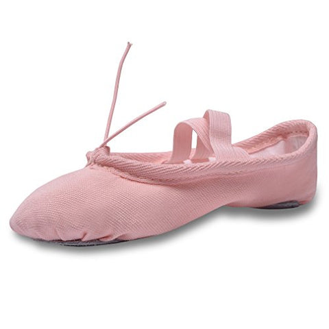 YYXR Women Ladies Girls Kids Classic Canvas Split-sole Ballet Slippers Dance Gymnastics Yoga Shoes Flats (1 M US Little Kid, Pink)