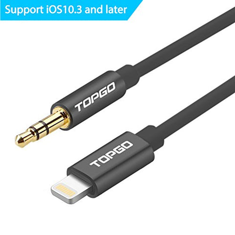 [Support iOS10.3] Lightning to 3.5mm 6.6Ft Male to Male Aux Stereo Audio Cable, TOPGO Premium Lightning to Aux Cable for iPhone 7 / 7 plus to Headphone, Home / Car Stereo, Speaker and More - Black