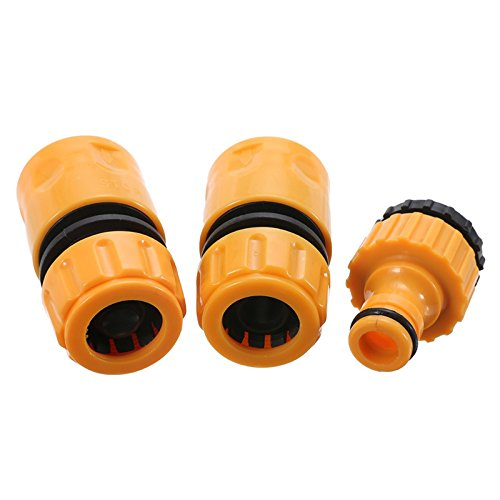 SODIAL 3pcs Quick Tap Water Connector Adapter Fast Coupling Adaptor Drip Tape 3/4inch and 1/2inch Barbed Irrigation Hose Connector Garden Tool
