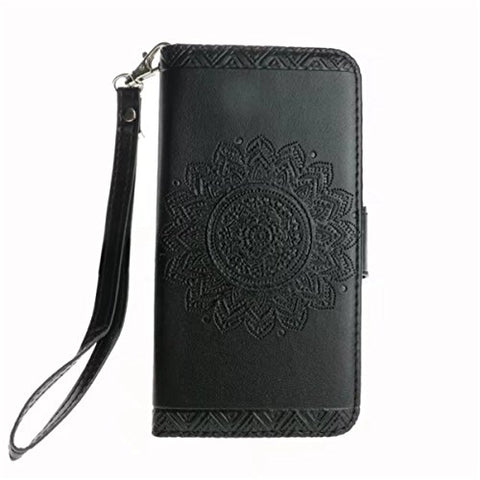 "iPhone X Case,Gift_Source [Emboss Mandala] [Stand Holder] Premium PU Leather Pouch Wallet Flip Magnetic Housing Cover Detachable Wrist Strap Case for Apple iPhone X (2017) 5.8"" [Black]"