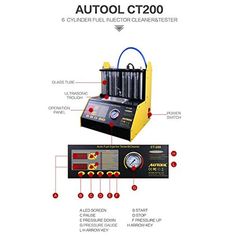 TuLanAuto 220V AUTOOL CT200 Petrol Automotive Fuel Injector Cleaner and Tester,Automotive Fuel Cleaning Tools With English Panel