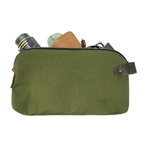 Water Resistant Canvas Large All Purpose Dopp Kit Utility Bag With Durable Plaid Lining (Cords, Chargers, Tools, School / Office Supplies) Handmade by Hide & Drink :: Olive