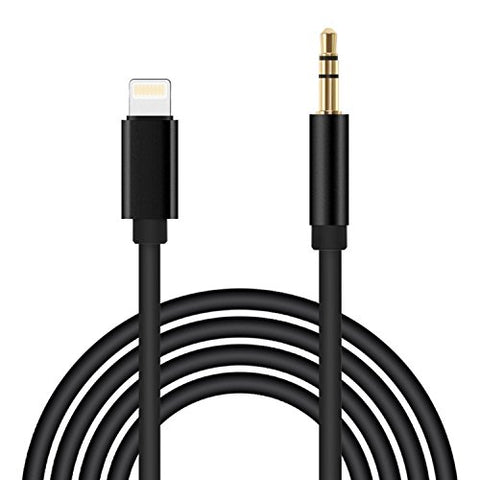 [Upgraded] ADABUNNY 3.3 Ft 1m Lightning to 3.5mm Premium Auxiliary Audio Cable Male to Male Aux Cable, iPhone 7/7P/8/8P/X or Any Lightning Port to Car Stereo Speakers or Headphone Audio Jack (black)