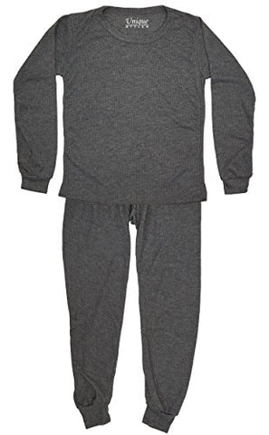 Boys 2-PC Thermal Underwear Set Waffle Knit Long Johns Top and Bottom (Charcoal, 14/16)