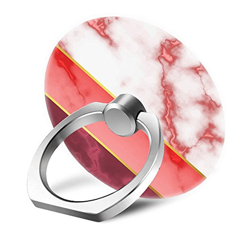 Yaolang Pink and Gold Marble Cell Phone Finger Ring Holder Stand Grip Mounts with 360° Rotation Silver Ring for Apple/Sumsang Galaxy/LG/Google Pixel/iPad