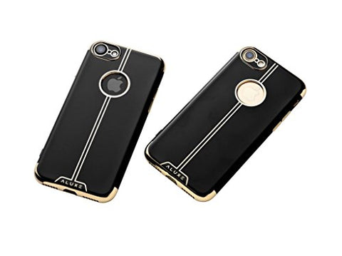 Aluxe iPhone 7 case, Iphone 8 cover Luxury Electroplated Soft TPU Case - Black with gold - Ultra Durable, Slim Fit, Protective Silicone, for both men and women