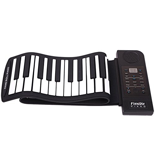Lychee Portable 61 Keys Roll Up Soft Piano Keyboard Folding Electronic Keyboard Piano Musical Instruments w/ Build-in Mircorphone Basic Practice of piano for Kids