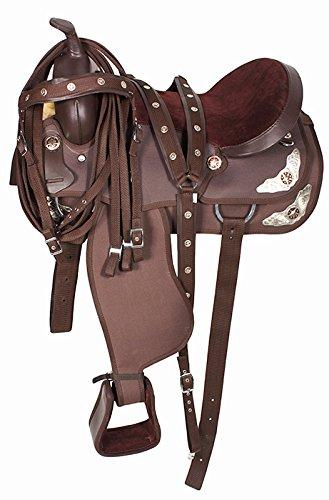 BROWN TEXAS STAR SILVER WESTERN PLEASURE TRAIL SHOW HORSE BARREL SADDLE  TACK SET COMFY (17)