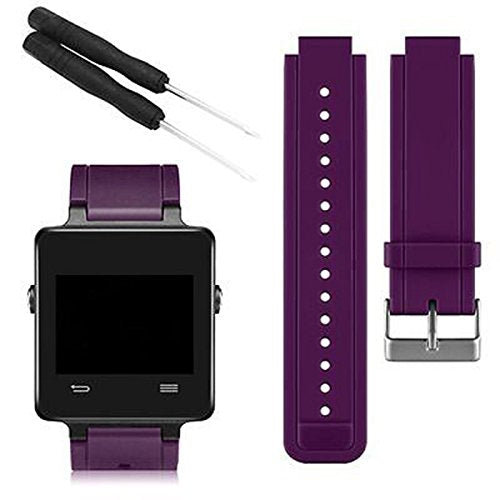 Linkshare Garmin Vivoactive Smart Watch Band, Soft Silicone Replacement Fitness Bands Wristbands With Two Screwdriver (Dark Purple)