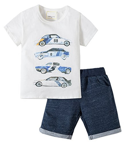 Jobakids Little Boys' Cotton Cute Print Clothing Short Sets(2T,Grey)