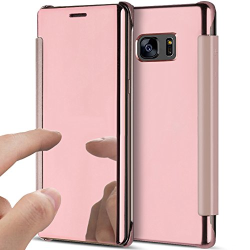 half off 3c62e 767f8 Galaxy S7 Edge Case,Galaxy S7 Edge Cover,ikasus Ultra-Slim Luxury  Shock-Absorption Clear View Flip Electroplate Plating Mirror Cover Flip  Protective ...