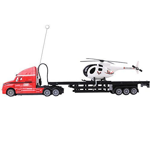 Red RC Big Rig Semi Truck with Trailer Bed and Helicopter combo, 4 Channel 2.4Ghz Toy Truck