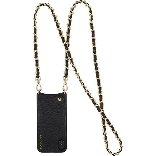 Libby for iPhone X Black Genuine Leather Women Wallet With Gold Metal Detail. PhoneCase Cross-Body Strap Apple Mobile Case for ID, Credit Cards & Cash. Phone Purse Carry Handsfree by Bandolier.