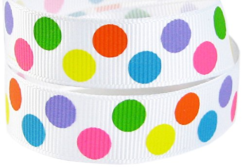 "HipGirl Rainbow Grosgrain or Satin Ribbon for Hair Bows, Floral Designs, Gift Wrapping, Sewing and More (5yd 7/8"" Rainbow Dot Grosgrain Ribbon--White)"