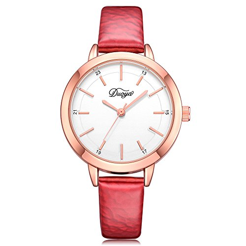 Womens Watches on Sale Clearance COOKI Women's Ladies Teen Girls Fashion Dress Wrist Quartz Watch with Leather Band Casual Simple Analog Quartz Watches Classic Wristwatch X68 (Red)