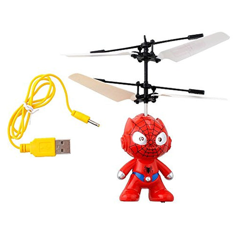 Mini Intelligent Children Flying RC Ball SpiderMan Small Yellow Man Captain America Led Flashing Light Aircraft Helicopter Infrared Induction Toy with Remote Controller - WDLLC