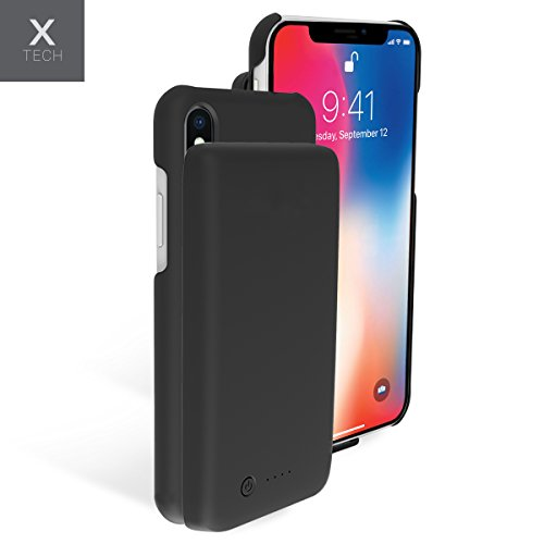 iPhone X Battery Case, 5000mah Rechargeable Slim Extended Protective Portable Backup Charger Case with Removable Power Bank and Ring Holder [Apple Certified Chip] Black