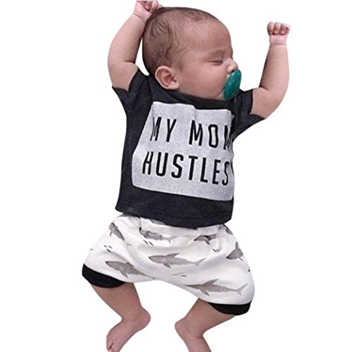 b9f7b617246 ®GBSELL Toddler Baby Boys Summer Clothes Letter Tops Dolphin Print Shorts  Outfits Set (0