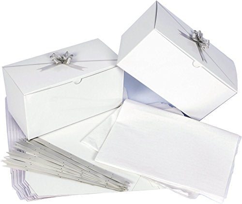 "Set of 10 White Gift Boxes (9x4.5x4.5"") + 10 Pull Bows + Tissue Paper. Perfect to Wrap Presents. Ideal for Baby Clothes, Bathing Products, Cupcakes, Cookies and other Gifts."