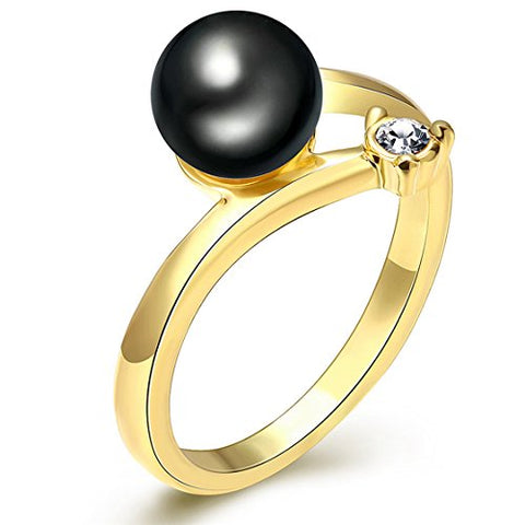 PSRINGS Black Pearl Rings faux pearl tiny diamond 18k gold plated designer jewelry 7.0