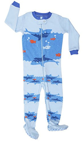 "Elowel Baby Boys footed ""Shark"" pajama sleeper 100% cotton 2 Toddler"