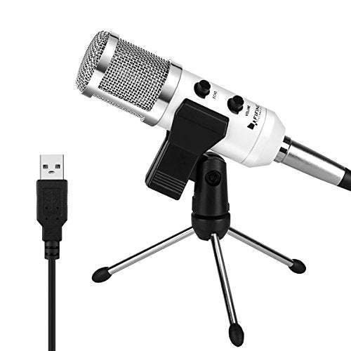 USB Condenser Mic Fifine Plug & Play Desktop Microphones For PC/Computer(Windows, Mac, Linux OX), Podcasting, Recording-White(K056)