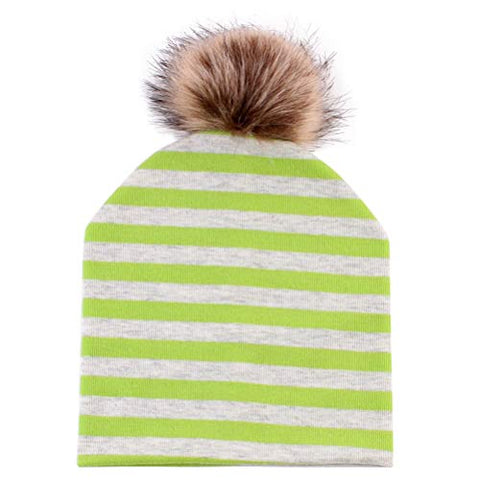 Fenical Baby Beanies Hat Cotton Artificial Fox Fur Pompom Winter Hats (Green Stripe)