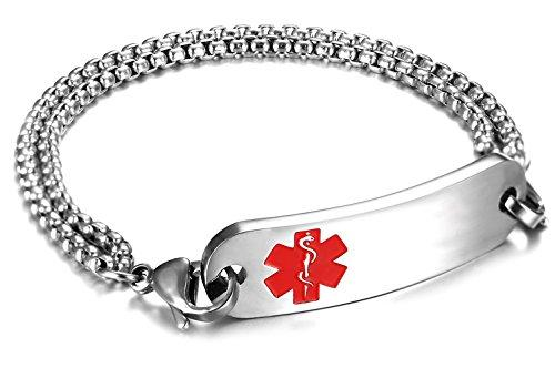 JF.JEWELRY Customize Medical Alert Bracelets for Women With Stainless Steel Rolo Link,6.5 inch-Red