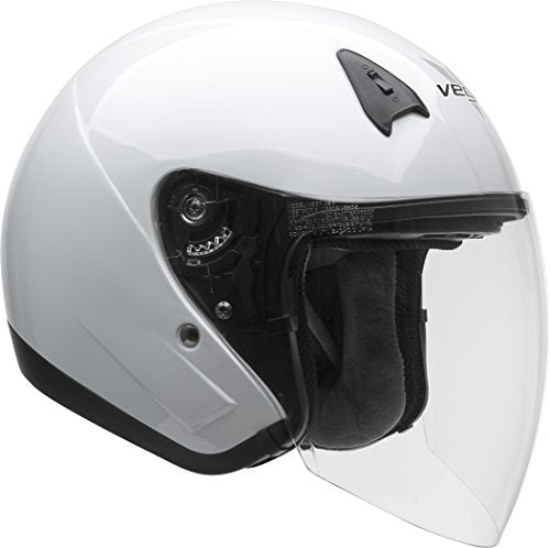 Vega Helmets VTS1 Open Face Motorcycle Helmet with Inner Sunshield – DOT Certified Full Face Shield & Visor Motorbike Helmet for Cruisers Street Bike Scooter Touring Moped Moto (Pearl White, XX-Large)