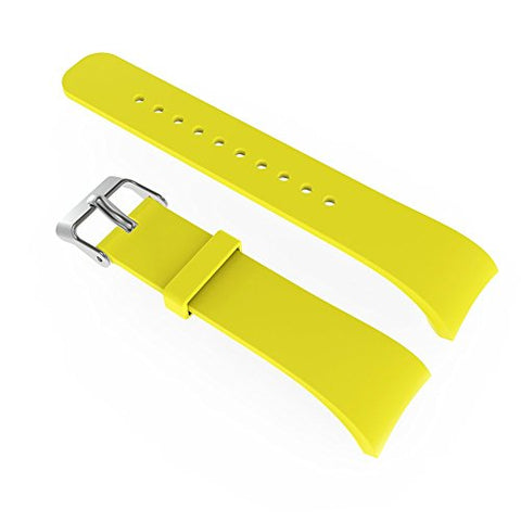 V.one Gear Fit 2 Replacement Wristbands with Quick Release Polished Stainless Steel Buckle Elastomer Soft Silicone Extra Bands for Samsung Gear Fit 2 SM-R360 Smart Watch (Yellow Small Size)