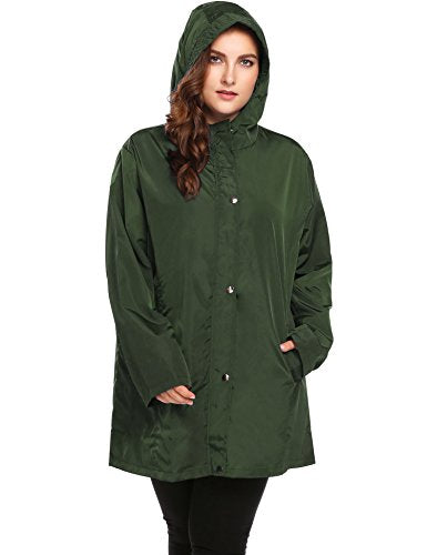 IN'VOLAND Womens Plus Size Lightweight Windbreaker Raincoat Travel Rain Jacket Windproof Hiking Portable Waterproof Coat