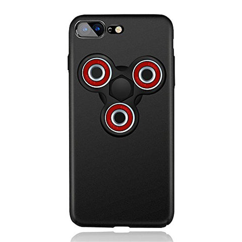 "KOSBON Hard Thin Protective Cover Cases Phone Case with Fidget Finger Spinner Protable Removeable for IPhone 7/7 Plus Iphone 6/6s/6Plus (C black case+black red spinner, For iPhone 7 4.7"")"