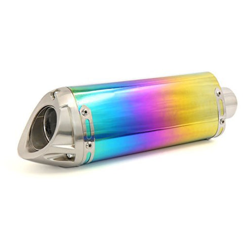 DealMux 50mm Inlet Multicolor Pipe Stainless Steel Outlet Motorcycle Exhaust Muffler