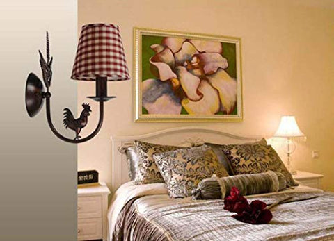 Modern Wall Lamp, Simple European-Style Wrought Iron Fabric Wall Lights, Guest Room Bedroom Corridor Cock Red Plaid Decorative Wall Lamp
