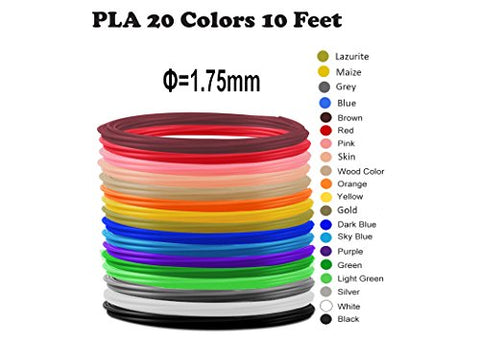 3D Pen Filament: 1.75mm, Safe for Kids, Great Quality, High-Precision, Odorless, Compatible with all 3D Pens, 3D Pens/3D Printers, Refill Pack of 20 Vibrant Colors, 10 Feet Each, 70 FREE Stencils