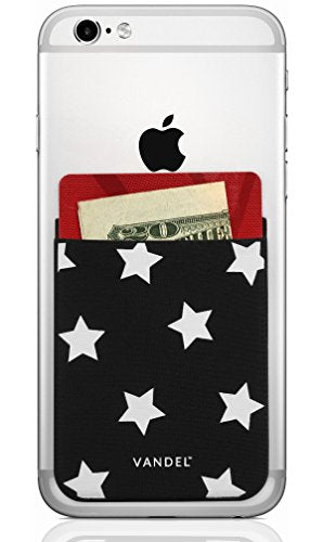 Vandel Pocket: Stretchy Fabric Stick On Card Holder Wallet for the Back of Cell Phones (Stars)