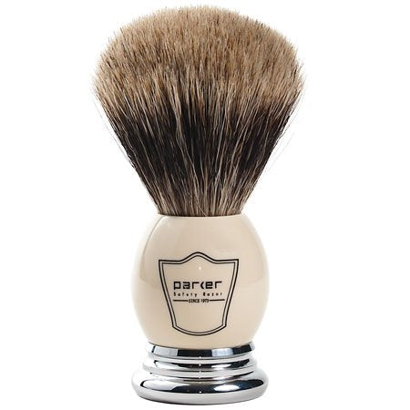 "Parker Safety Razor 100% ""Extra Dense"" Best Badger Bristle Shaving Brush with White & Chrome Handle -- Free Brush Stand Included"