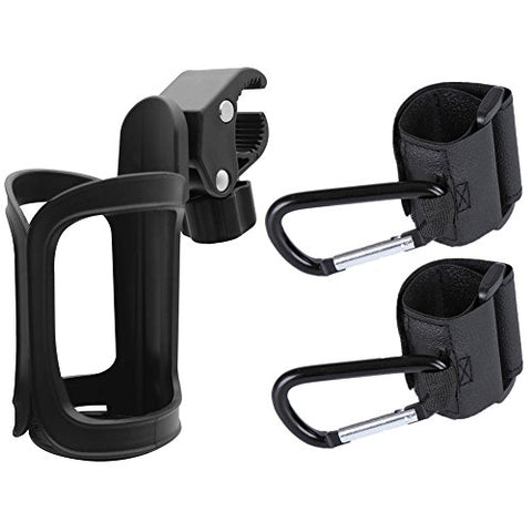 Stroller Drink Holder + 2 Stroller Hooks Normei Universal Stroller Cup Holder Multi Purpose Hooks Hanger for Baby Diaper Bags, Groceries, Clothing, Purse,Fit All Strollers, Bike, Wheelchair, Pushchair