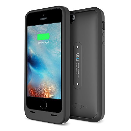 iPhone 5S Battery Case, UNU AERO Wireless iPhone 5S Case with Charging Pad [Black/Black]1 YR -2000mAh Portable Charger, External Juice Power Bank and Charging Case[MFI Apple Certified]