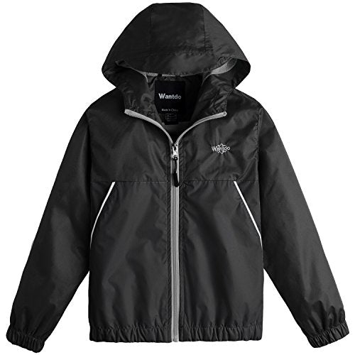 Wantdo Boy's Lightweight Hooded Rain Jacket Waterproof Outwear with Zipper for Hiking(Black, 6/7)